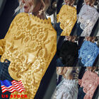 Fashion Women Loose Long Sleeve Tops Blouse Hollow out Lace Casual Tops T-Shirt