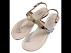COACH Women's Caterine Sandals Thongs Ivory Patent Leather Gold US Size 75, 85