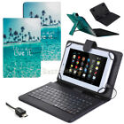 "US For 7"" 8"" 10"" 10.1"" Tablets Blue Ocean PU Leather Case W/ USB Keyboard Cover"