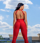 Brazilian Authentic Jumpsuit Fitness Honeycomb Gym 3D Supplex Booty Scrunch