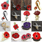 Red Poppy Brooch Pin Crystal Badge Broach Poppies Remembrance Day Jewellery