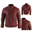 Men's Retro Style Zipped Biker Jacket Real Leather Soft Red Casual/ UK Seller
