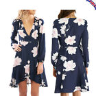 Womens Boho Wrap Floral Printed Long Sleeve Ruffles Deep V Neck Mini Flare Dress