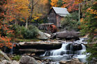 "Autumn Old Grist Mill Fabric poster 21x13""/40x24"" Decor 04"