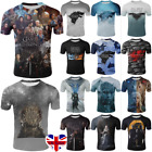Adult Kids Game Of Thrones 8 T-Shirt Tee 3D Print Cosplay Short Sleeve Tops Gift