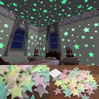 100/40pcs 3d Glow In The Dark Stars Ceiling Wall Stickers Living Home Decor Usa