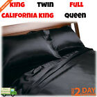 Black Luxury Satin Charmeuse Sheet Set 4 Piece Soft Silk Royal Opulence Bedding image