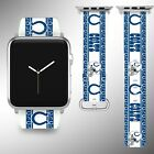 Indianapolis Colts Apple Watch Band 38 40 42 44 mm Fabric Leather Strap 2 $29.97 USD on eBay