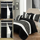 3 Piece Faux Silk Bedding Set Black Grey Quilted Bedspread Bed Throws & Curtains image