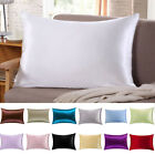 1PC 100% Mulberry Pure Silk Pillowcase Covers Soft Queen Standard Colorful image