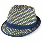 Straw Fedora Hat Paper Trilby Lattice Weave Brown /Blue Summer Beach Mens Panama