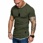 Men's Casual Fit Short Sleeve Slim Muscle Bodybuilding T-shirt Fashion Tee Tops