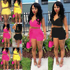 Casual Women 2 Piece Set Solid Color Crop Top Shorts Outfit Short Jumpsuit US
