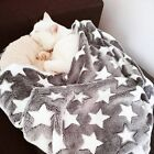 Warm Cat Dog Bed Star Print Puppy Dog Blanket Soft Fleece Sleeping Bed Mat Cover