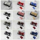 Mens Matching BOW TIE & POCKET SQUARE & CUFF LINKS SET Neck Hanky Black Wedding $18.08 CAD on eBay