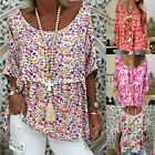 New Womens Ladies Casual Long Sleeve Baggy Boho Floral T-Shirt Tops Blouse