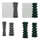 Garden Galvanized Steel Chain Link Fence Netting Mesh Green PVC Plastic Coated