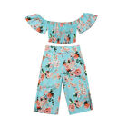 US Toddler Kid Baby Girl Floral Clothes Off Shoulder Crop Top Long Pants Outfit