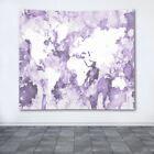 Wall Tapestry, Wall Hanging, Printed in USA Design 109 Purple White World Map