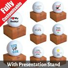 PERSONALISED Golf Ball Grandad Father's Day Wedding Custom Text + Stand