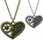 Steampunk Heart Necklace Gears Industrial Pendant Bronze Gothic Punk Cosplay