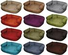 Soft Washable Alcantra Dog Pet Warm Basket Bed Cushion with Fleece Lining [JEFFY