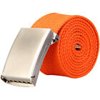 High Quality Webbing Silver Buckle Belt Mens Womens Unisex Cotton Canvas Fabric