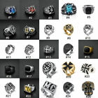 Vintage Mens Silver Stainless Steel Gothic Punk Biker Rings Jewelry lots Sz8-15 image