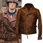 Men's Chris Evans Distressed Brown Biker Cowhide Leather Jacket XXS to 3XL $93.1 USD on eBay