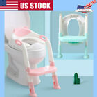 Toddler Child Toilet Chair Kids Potty Training Seat with Step Stool Ladder Safe image