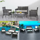 4 Pcs Rattan Garden Furniture Set Chair Sofa Coffee Table Garden Patio Pub Home