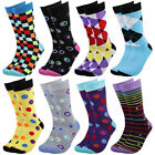 Falari 8 Pairs Men Colorful Funny Novelty Crazy Combed Casual Dress Socks