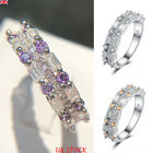 Uk Women Silver Zircon Rhinestone Rings Ladies Engagement Wedding Gift Jewelry