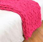 Chunky Knitted Blanket Area Rug Mat Super Thick Soft Manual Weaving Cover Home