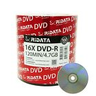 Ridata DVD-R DVDR 16X 4.7GB 120Min Silver Logo Top Blank Media Recordable Disc