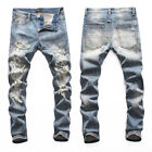 New Italy Pop Style Distressed Indigo Pants Rips Slim Men Jeans Trousers AM8096T