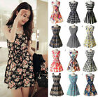 Women Summer Beach Chiffon Mini Dress Sleeveless OL Floral Pleated Tank Sundress