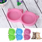 Puppy Dog Cat Feeding Plastic Pet Double Bowl Food Container Durable YS6