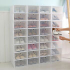 SneakNeat  Shoe Box Set Foldable Plastic Clear Stack Drop Front Organizer White