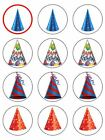 Party Hats birthday hats edible cupcake Toppers Wafer or Icing x 12