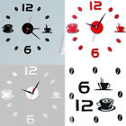 Modern Art DIY Wall Clock 3D Self Adhesive Sticker Home Office Kitchen Decor NEW