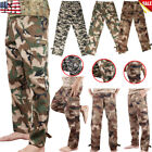 MEN WOODLAND CAMOUFLAGE TOOLING FATIGUES MILITARY BELT CASUAL POLYESTER PANTS LM