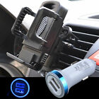 LED Car Charger + Phone Air Vent Mount Holder Stand For Samsung S8 S9 S7 S6 Edge