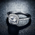 925 Sterling Silver Womens Fashion Jewelry Crystal Wedding Engagement Ring