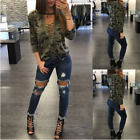 US Camouflage Deep V Neck Sexy Women Lace Up Long Sleeve Crop Tops Shirts Blouse