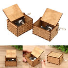 Hand Crank Collectible Music Box Engraved Wooden Theme Toys Birthday