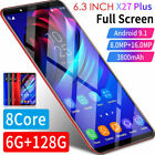 X27 Plus Smartphone 6.3'' Android 9.1 Dual Sim Mobile Phone Face 6g+128g Unlock
