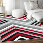 Area rug SmtN#111 Modern, premium quality red gray and black soft pile 5x7 8x11