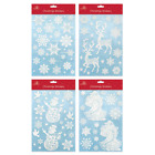20 Xmas Christmas Window Decorations Stickers Snowflake With Glitter Iridescent