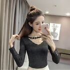 Korean Women Ladies Glitte Long Sleeve Slim V Neck Knit Top Shirt Blouse Sweater
